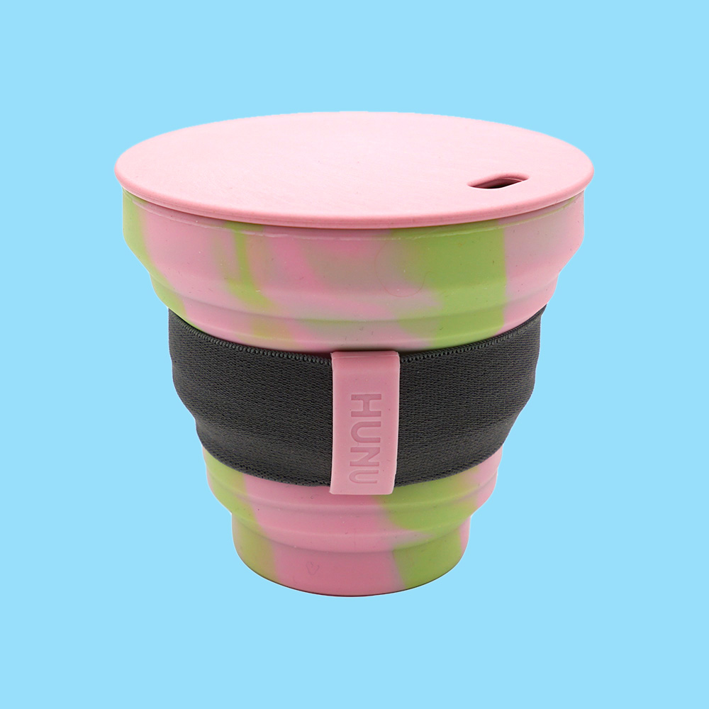Hunu Collapsible Cup Green & Pink